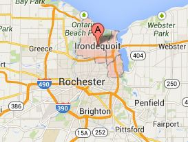 Map of Rochester and Irondequoit, NY 14617, 14621, 14622