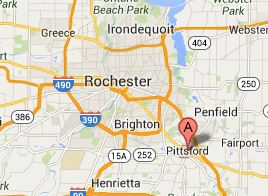 Map of Rochester and Pittsford, NY 14534